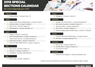 2018 Special Sections Calendar