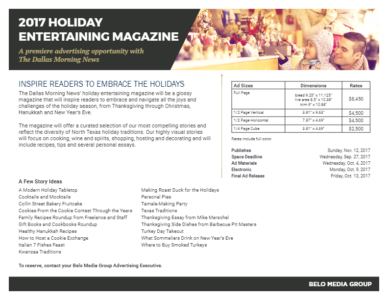 Holiday Entertaining Magazine_One Pager