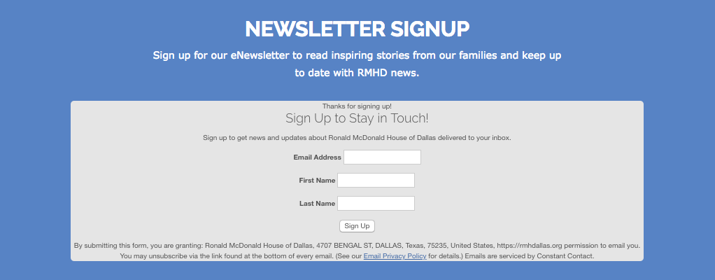 Ronald McDonald House newsletter signup